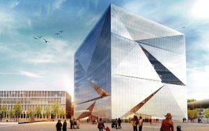 Nicht nur die Form vom ‹cube berlin› ist spektakulär. Visualisierung: CA Immo AG