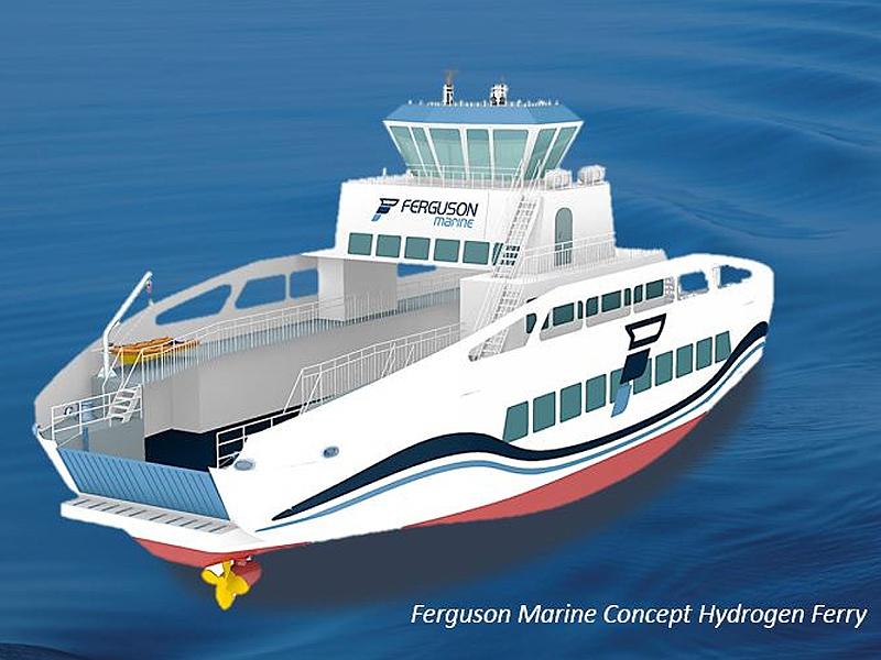 Ferguson Marine Concept Hydrogen Ferry. Die Fähre wird auf eine Kapazität von rund 120 Passagieren und 18 Fahrzeugen ausgelegt.