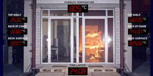 Bei einer Prüfung werden nach einer Zeit von 30 MinutenTemperaturen von 850 Grad erreicht, nach 60 Minuten zirka 950 Grad. Foto: Glas Trösch AG-Fireswiss