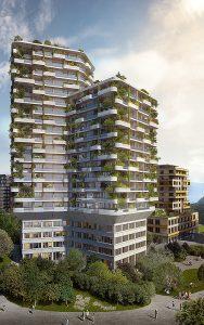 Bei hohen Gebäuden ist eine Fassadenbegrünung wirksamer für das Klima als ein weit entferntes begrüntes Dach, wie hier beim Gartenhochhaus Aglaya im Areal Suurstoffi in Rotkreuz. Visualisierung: Zug Estates