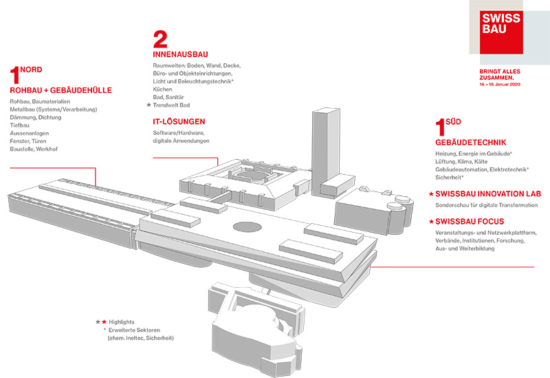 Die neue Halleneinteilung der Swissbau 2020. Grafik: MCH