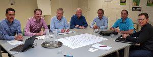 Das Projekt-Team «Wärmepumpe 2030»: (v.l.n.r.) Andreas Bätschmann (Leitung), Ralf Dott, Peter Egli, Oskar Aeberli (Kommunikation), Stephan Peterhans (Geschäftsführer FWS), Lukas Gasser und Jürg Marti.