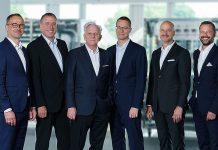 Der Verwaltungsrat der Hälg Holding AG (v. l. n. r.): Marcel Baumer, Matthias Schmid (Präsident), Hansjörg Rettenmund (Vizepräsident), Christoph Fierz, Damir Bogdan, Roger Baumer. Foto: zvg