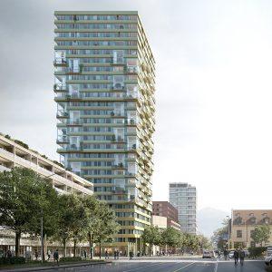 Durch Photovoltaikmodule in der Fassade wird das Gebäude zum Energieproduzenten und deckt einen Teil seines Strombedarfs selbst. Visualisierung: Filippo Bolognese
