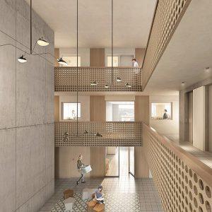 Das Projekt Pi bietet ein neuartiges Wohnkonzept mit Piazza und vertikalen Nachbarschafts-Clustern. Visualisierung: Filippo Bolognese