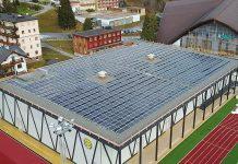 Solare Trainingshalle HCD. Foto: Schweizer Solarpreis 2019