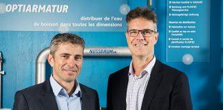 Urs Bobst (links), Leiter Innovation & Partner und Mitglied der Geschäftsleitung, und Patrik Zeiter, Leiter Grundlagen & Schutzrechte, sind die Initiatoren des Nussbaum Trinkwasser-Hygienekonzepts. Foto: zvg