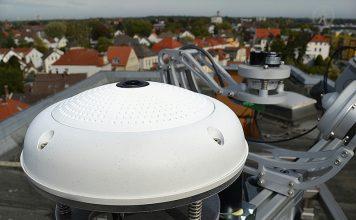 Jede Eye2Sky-Messstation ist mit einer Wolkenkamera ausgestattet. Diese fotografieren den Himmel über ihrem Standort mit einem Fischaugenobjektiv im 360-Grad-Blick mit einem Radius von rund vier Kilometern. Alle 30 Sekunden wird ein Bild an einem Großrechner gesendet. Foto: DLR