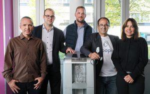 Das Droople-Team (v. l.): Jean-Luc Marchina, Peter Racz, Maxime Firmenich, Ramzi Bouzerda und Carmen Ana Amell. Foto: Alain Herzog