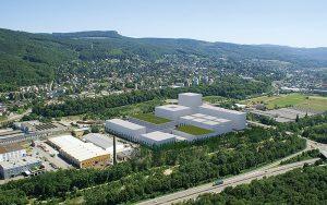 Das Gelände von uptownBasel wird in sieben Etappen bebaut und soll 2025 fertiggestellt sein. Das 70 000 m² grosse Areal soll zum Leuchtturmprojekt für Ressourceneffizienz werden. Fotos: Bela Böke, arbel gmbh, Fankhauser Arealentwicklungen Gesamtplanungen