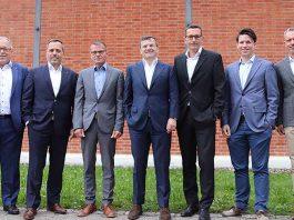 Vorstand GebäudeKlima Schweiz 2019 (v.l.n.r.): Konrad Imbach, Dennis Reichardt, Rico Ackermann, René Schürmann, Daniel Weltin, Johannes Bollmann, Steffen Schmidt (nicht auf dem Bild: Richard Osterwalder). Foto: GKS