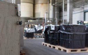 Elektronischer Zylinder SALTO GEO an der Tür zu einem Lagerraum der Brauerei Feldschlösschen.