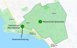 Energie 360° hat Anfang 2020 den Investitionsentscheid für das Projekt Tiefenbrunnen gefällt. Dafür werden Investitionen von rund 40 Millionen Franken getätigt. Grafik: Energie 360