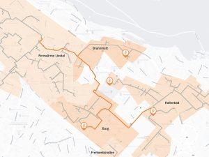 Als zweiter Schritt werden die Wärmeverbünde Burg, Brunnmatt und Hallenbad an die modernisierte Heizzentrale angeschlossen. Der Grosswärmeverbund Liestal wird nach Ausbau und Zusammenschluss rund 31 Kilometer umfassen. Visualisierung: EBL