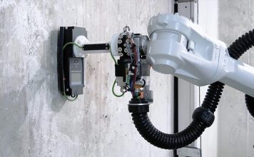 Das Schindler Roboter-Installationssystem für Aufzüge (Schindler R.I.S.E) ist das weltweit erste selbstkletternde, autonome Robotik-System, das Installationsarbeiten in einem Aufzugsschacht durchführen kann. Foto: Schindler Management AG