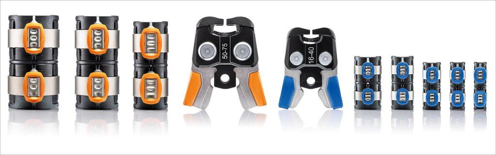 Ohne ständigen Werkzeugwechsel Für sämtliche Rohrdimensionen braucht es nur zwei Pressbacken. Rohrdurchmesser und passende Pressbacken lassen sich durch die Farbe der Pressindikatoren leicht zuordnen.