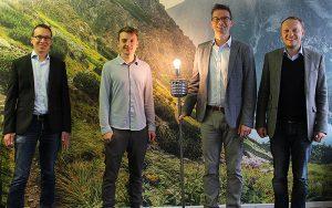 Adaptricity: Stephan Koch (CTO), Janis Münchrath (Project Engineer), Mario Baumgartner (CEO), Andreas Ulbig (COO) von links nach rechts. Fotos: BFE2021