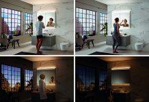 Der neue Geberit ONE Spiegelschrank mit integriertem Lichtkonzept: Standardlicht, Arbeitslicht, Kerzenlicht und Orientierungslicht - vier Lichtstimmungen kennzeichnen das Lichtkonzept, das sich zudem stufenlos dimmen lässt und für jedes Bedürfnis das richtige Licht bietet. Fotos: Geberit Vertriebs AG