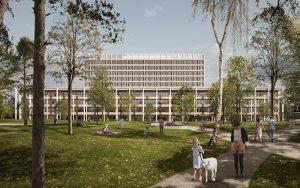 Ein Projekt der BAM Swiss AG: Die Stadt Aarau hat am 29. März 2021 das Baugesuch des Kantonsspital Aarau für den Spitalneubau «Dreiklang» bewilligt. Visualisierung: Burckhardt+Partner AG, wörner traxler richter